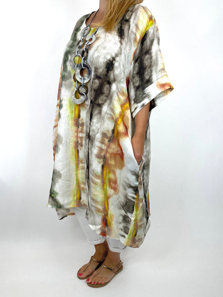 Lagenlook  Bernie Tie-Dye Linen Tunic in Brown/green Mix . code 9611