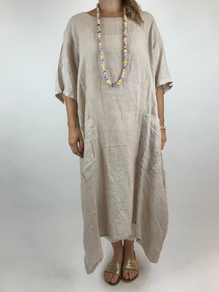 Lagenlook Lola Pocket Linen Tunic in Cream. code 18254