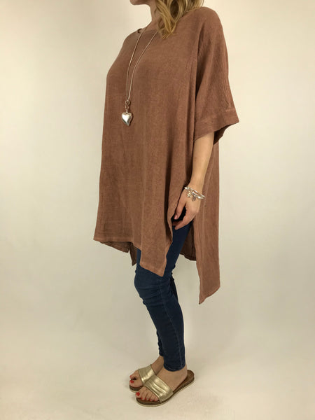 Lagenlook Alto Cotton Top in Rust. code 5912