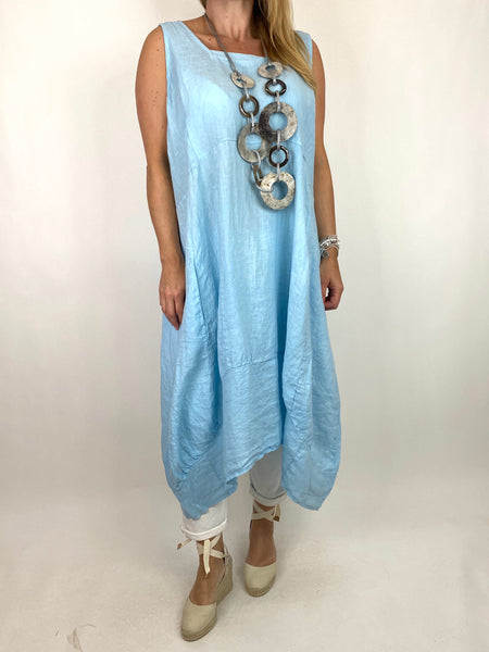 Lagenlook Bella Linen Square neck tunic in Sky. code 8262