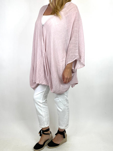 Lagenlook Miller Cotton Mix Wrap Top in Pale Pink . code 9100