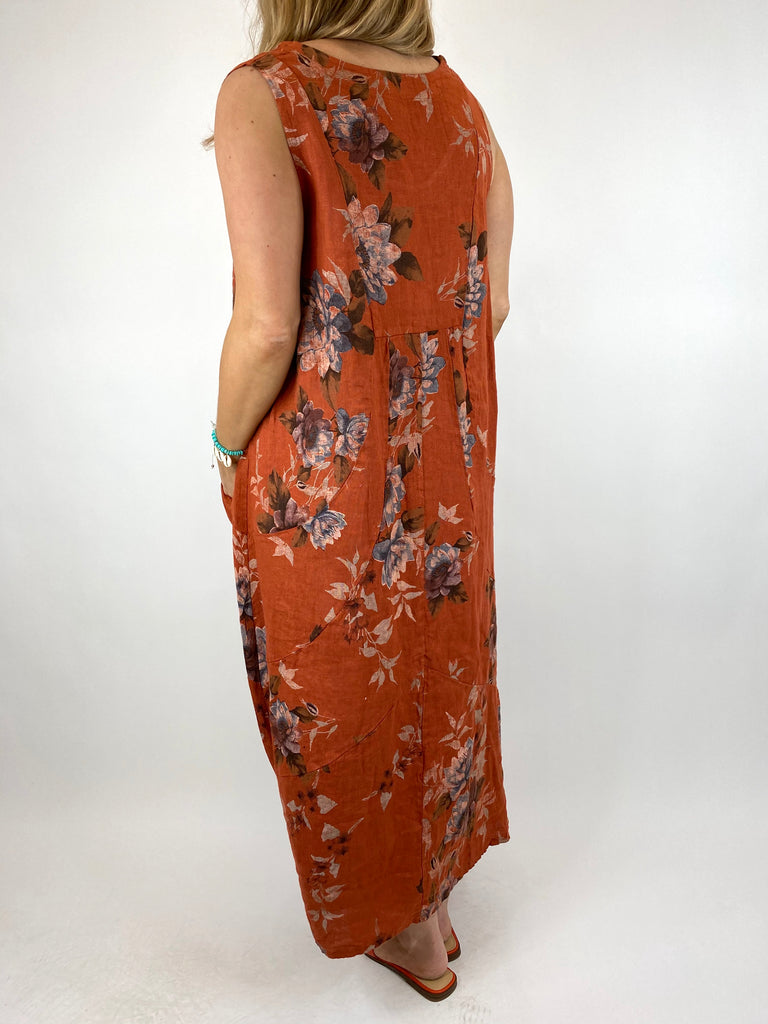 Lagenlook Nellie Linen Flower Regular size Dress in Rust. Code 0839
