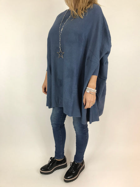 Lagenlook Calia Star Poncho Knit in Denim blue. code 47352