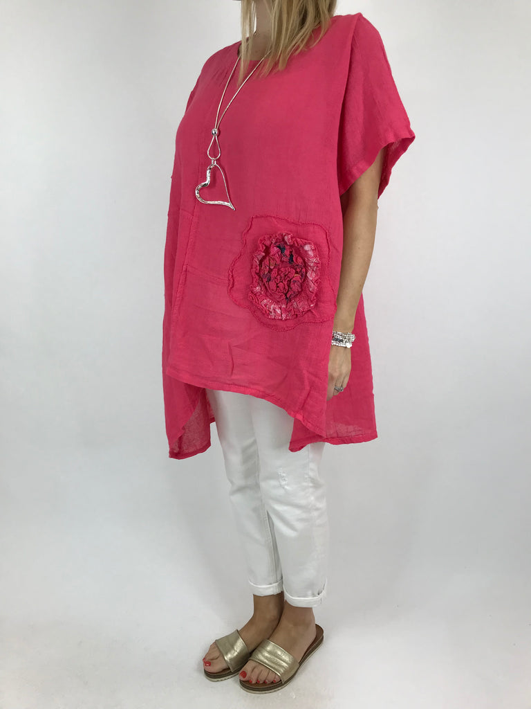 Lagenlook Poppy Flower patch in Fuchsia. code 90914