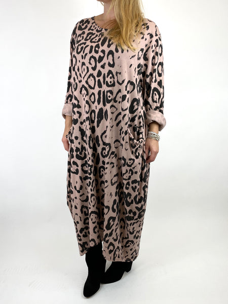 Lagenlook Made In Italy Cheetah Print Tunic in Pale Pink. code 9806 - Lagenlook Clothing UK