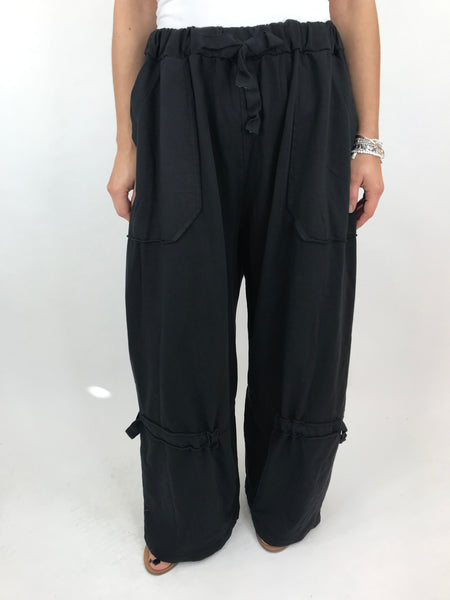 Lagenlook Cotton Wide leg Sweatshirt Trousers in Black . code 5654