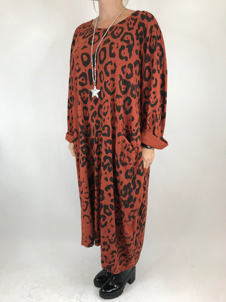 Lagenlook Made In Italy Cheetah Print Tunic in Rust. code 9806 - Lagenlook Clothing UK