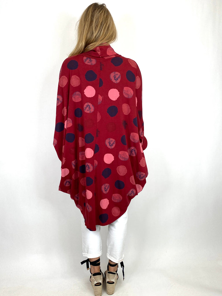 Lagenlook Cowl Neck Dot Print Top in Wine. code 9811 - Lagenlook Clothing UK