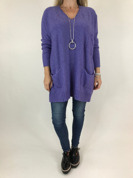 Lagenlook Grove V- Neck Knit jumper in Purple. code 6077