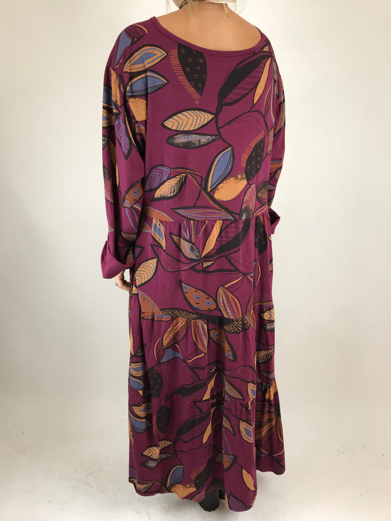 Lagenlook Made in Italy Winter Leaf Tunic in Wine. code 9788