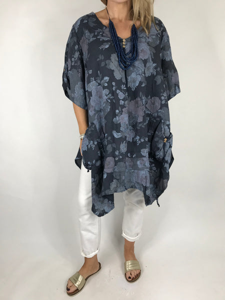Lagenlook Baha Flower Print Linen Top in Navy. code 5160
