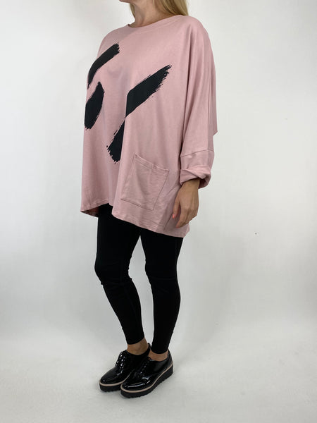 Lagenlook Erika Oversized Cotton Paint Splash Top in Pale Pink. code 91093 - Lagenlook Clothing UK