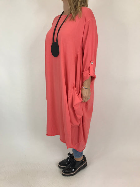 Lagenlook Alicia Pocket Tunic in Coral .code 5626