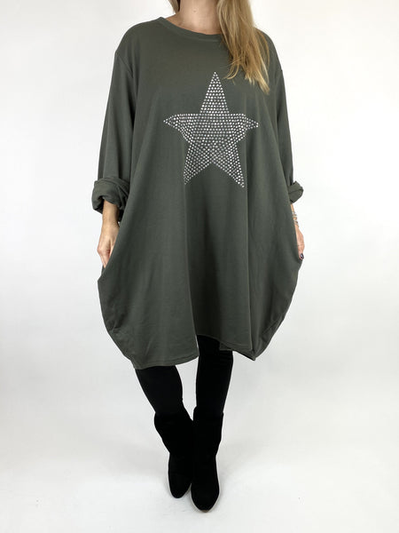 Lagenlook Stud Star Sweatshirt Top in Khaki. code 91199 - Lagenlook Clothing UK
