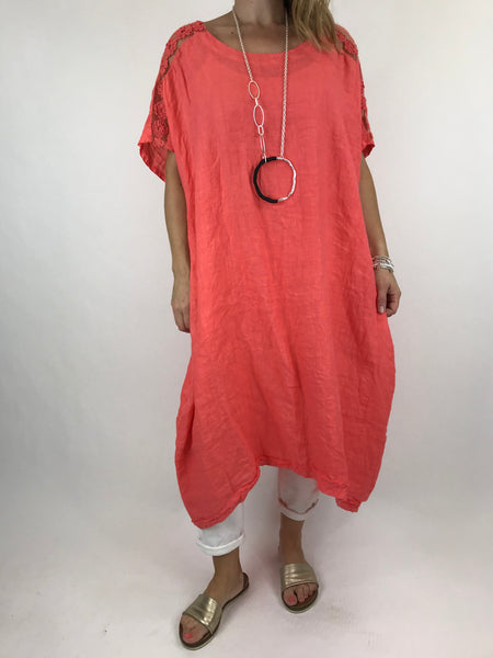Lagenlook Lace Shoulder Linen Top in Coral. code 5911