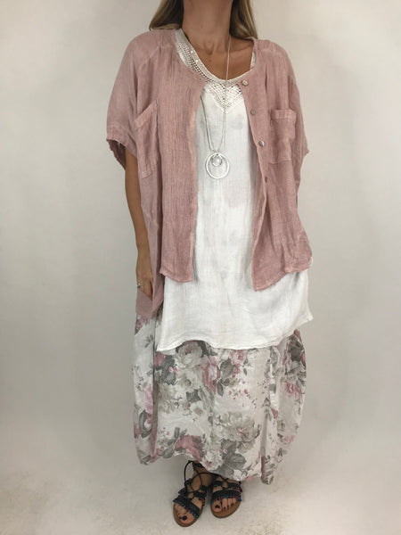 Lagenlook suzie button summer Top in Pale Pink. code 01065