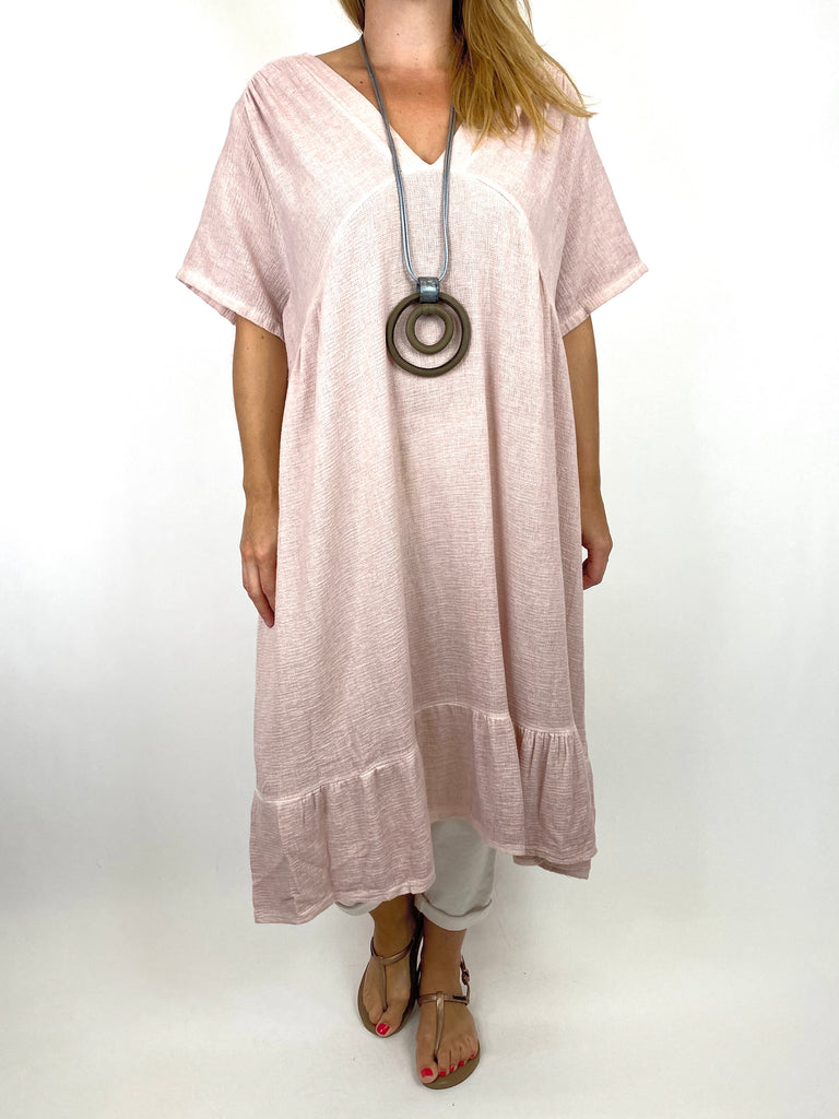 Lagenlook Horton Washed V-Neck top in Pink . code 10436
