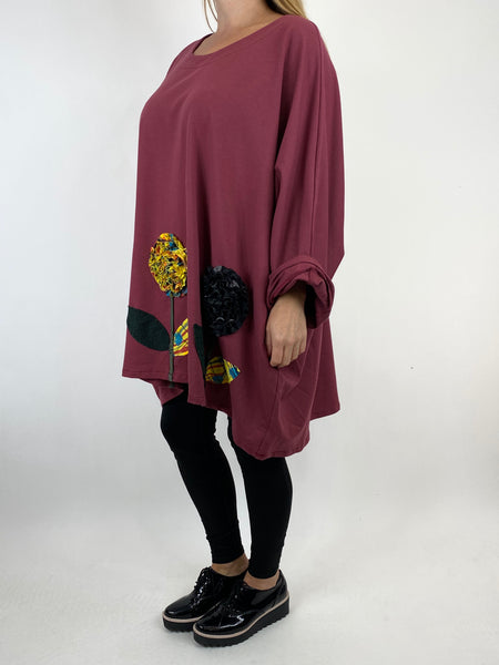 Lagenlook Corolla Flower Hem Sweatshirt in Plum. code 909691 - Lagenlook Clothing UK