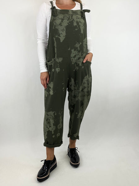 Lagenlook Dakota Tye-dye Made in Italy Dungarees in Khaki.code 6777TD - Lagenlook Clothing UK