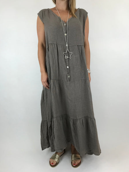 Lagenlook Kate Sleeveless Button Front Linen Tunic in Mocha. code 20529