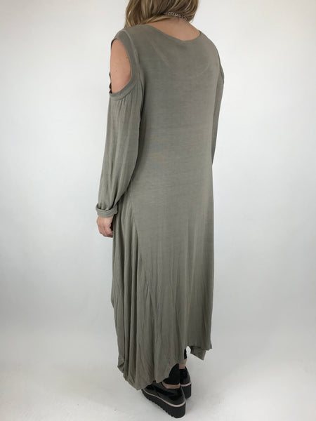 Lagenlook Alley Cold Shoulder Tunic in Mocha. code 1025