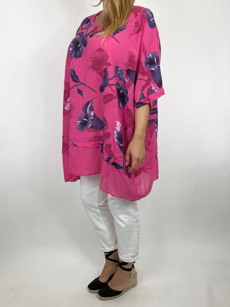 Lagenlook Ami Flower Cotton Top in Fuchsia. code 89425