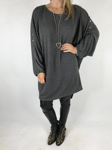 Lagenlook Pearl Sleeve Tunic in Charcoal Grey. code 1267
