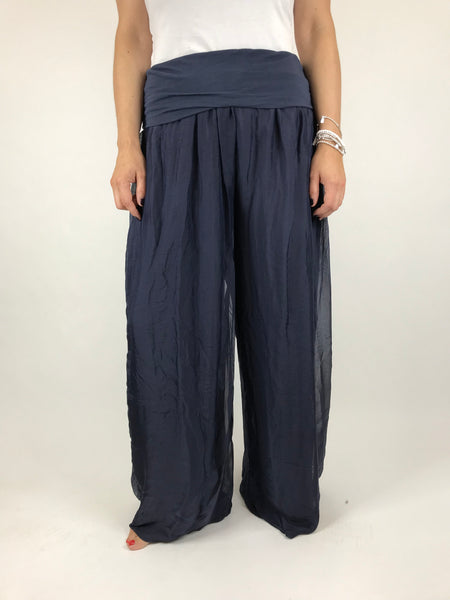 Lagenlook Wide leg Silk Trousers in Navy. code 2885