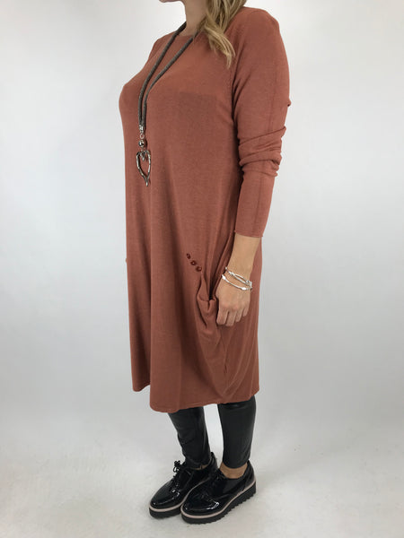 Lagenlook Milly Knitted Tunic in Rust. code 5520