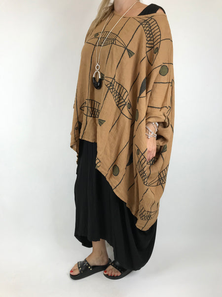 Lagenlook Linen Quirky Print Poncho Top in Camel. Code 18057
