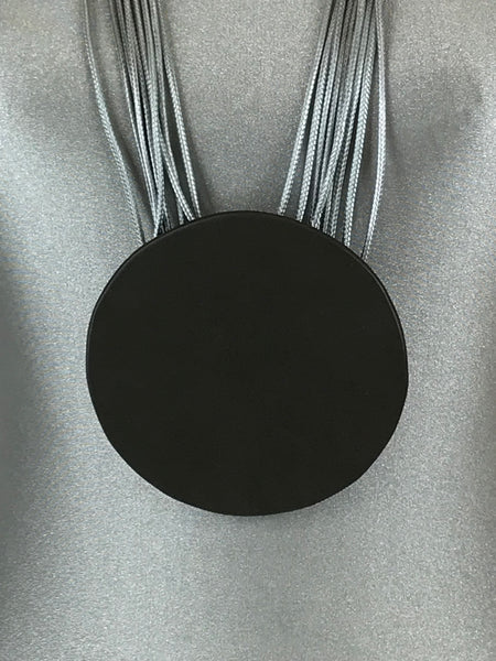 Lagenlook Leather Disc long  Necklace in Grey. Code L11