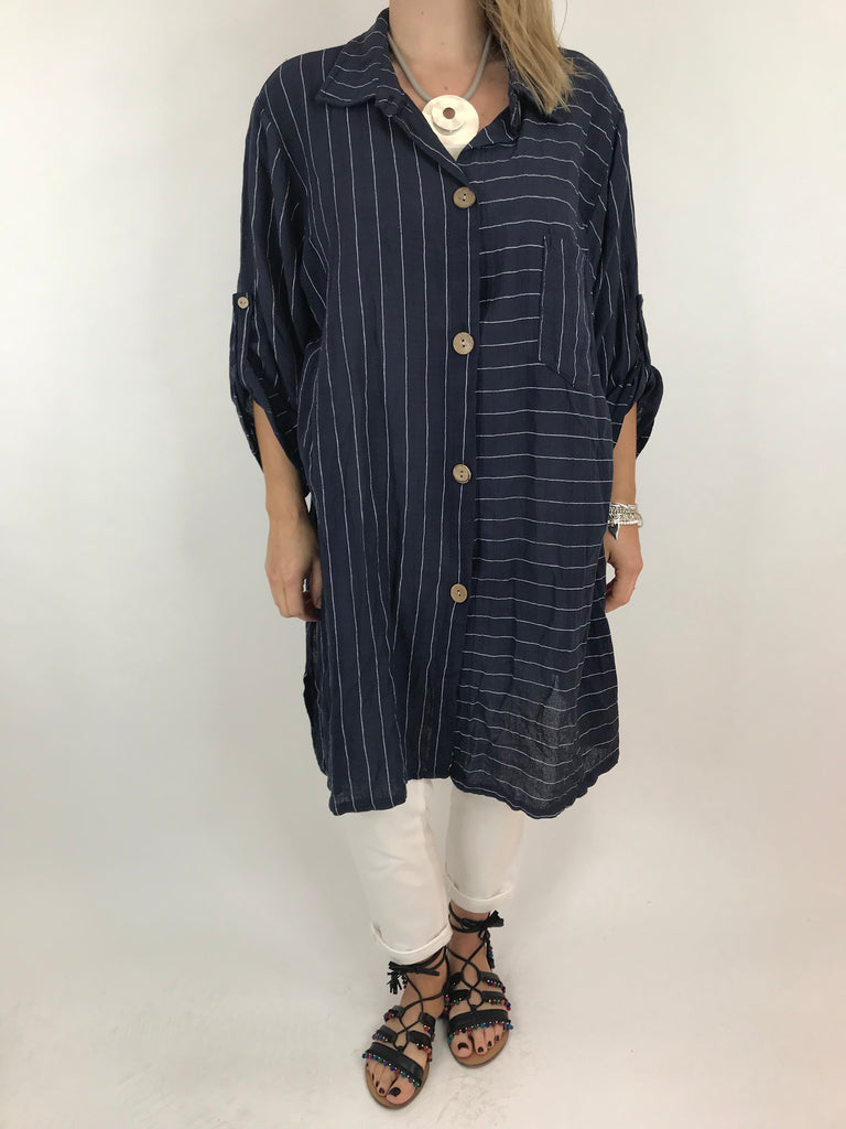 Lagenlook Dele Cotton Shirt in Navy. Code 90873
