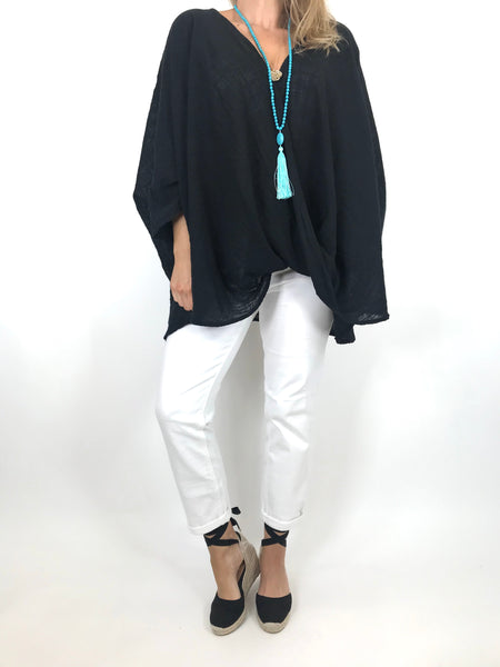 Lagenlook Linen Wrap Top in Black. code 2087