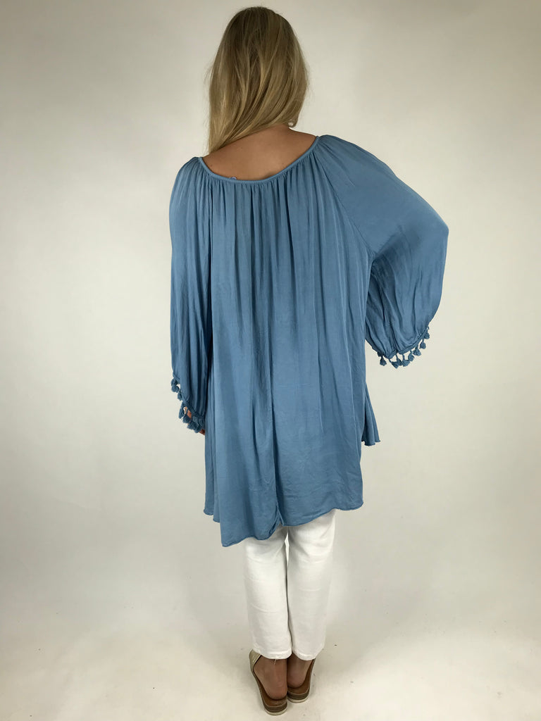Lagenlook Layla Summer Tassel Top in Denim. Code 5241