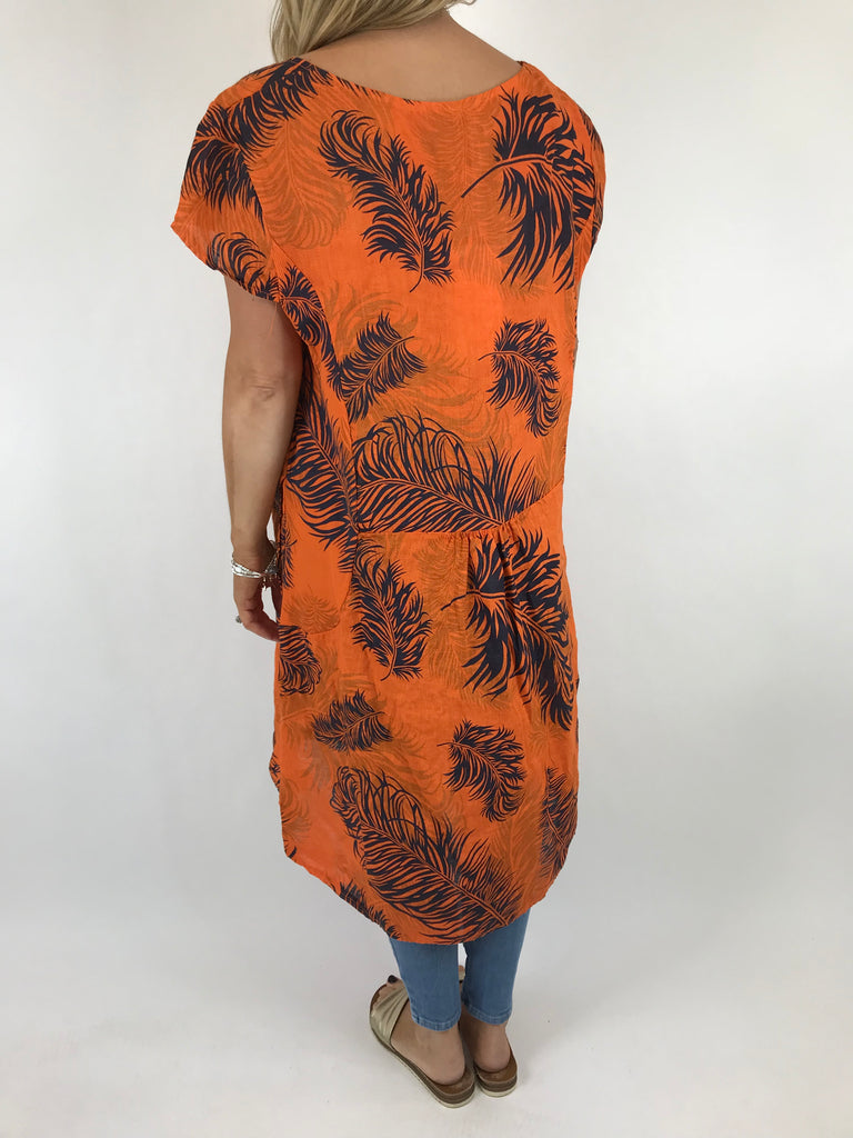 Lagenlook Bella Leaf Print tunic in Orange. Code 5355