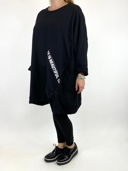 Lagenlook Langdon Tape Sweatshirt in Black. code 91169
