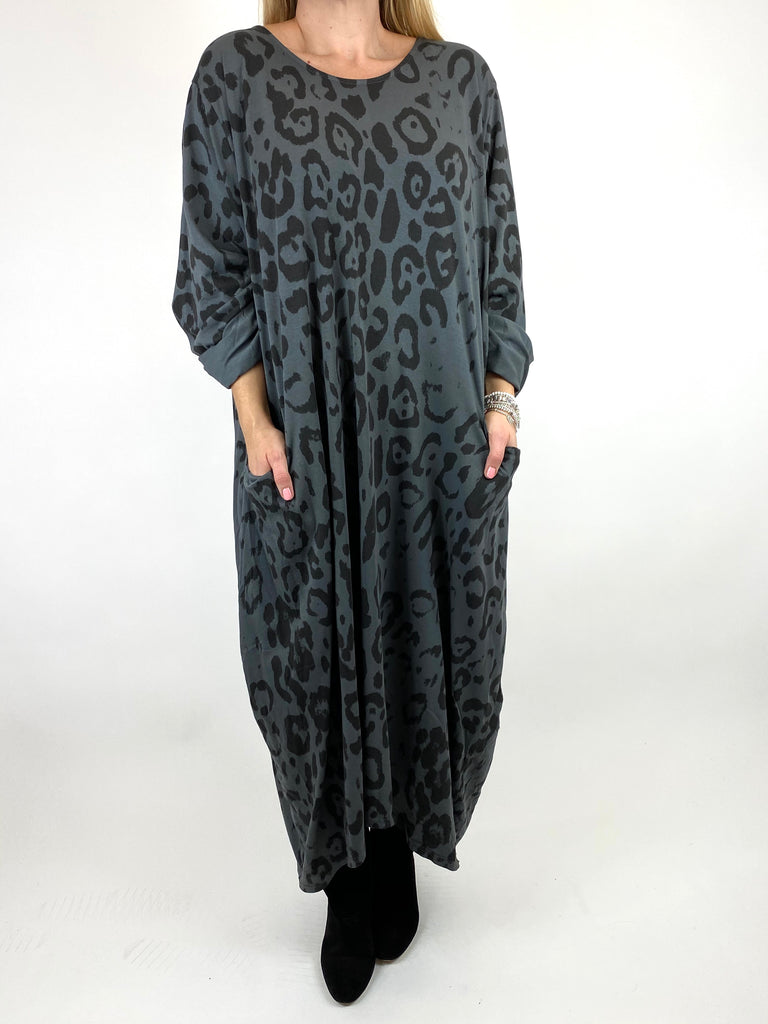 Lagenlook Made In Italy Cheetah Print Tunic in Charcoal. code 9806 - Lagenlook Clothing UK
