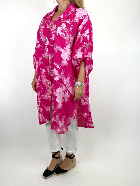 Lagenlook Seren  Floral Shirt Linen Top in Fuchsia. code 6593 - Lagenlook Clothing UK