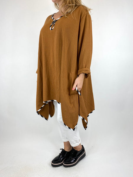 Lagenlook Polly Quirky Stripe Button Top in Rust. code AB129