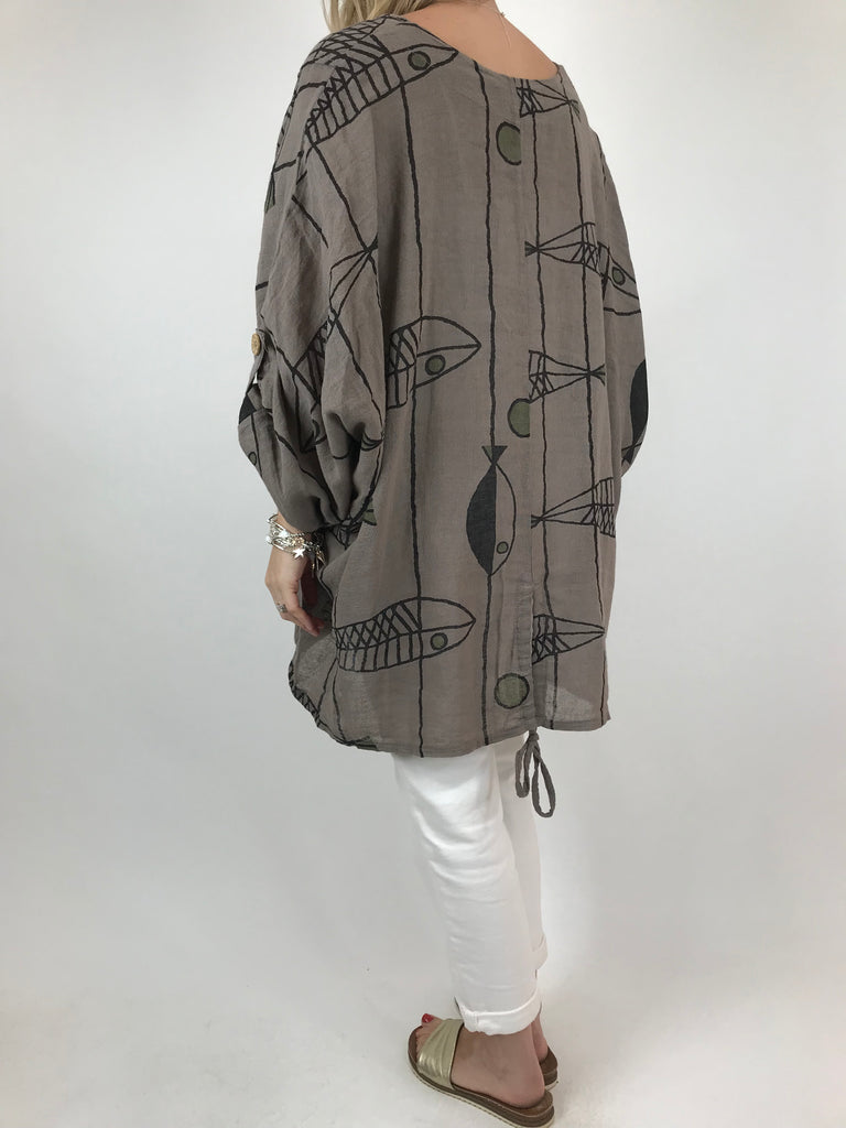 Lagenlook Quirky Patterned Top Jacket in Mocha. code 39112