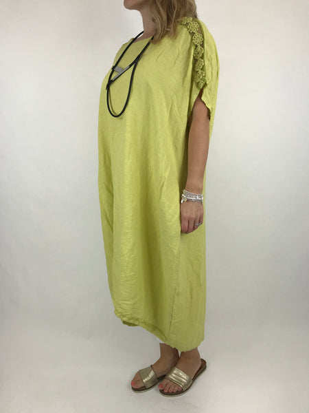 Lagenlook Lace Shoulder Linen Top in Lime. code 5911