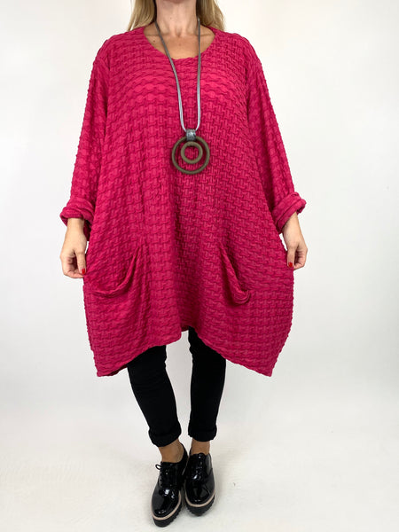 Lagenlook lottie Textured Large Waffle Parachute Hem Tunic In Fuchsia. code 91122 - Lagenlook Clothing UK