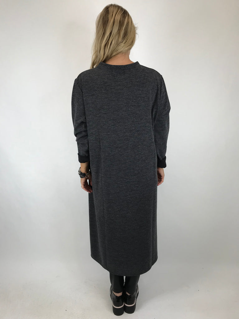 Lagenlook 'Neslay' Wave Panel Tunic in Charcoal. code 7392