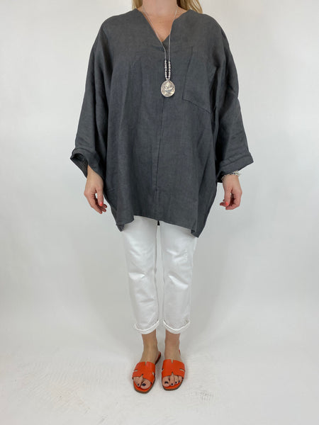 Lagenlook Ava Linen V- Neck Top in Charcoal Grey. code 10297