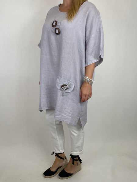 Lagenlook Bea Linen Top In Pale Grey. code 9782