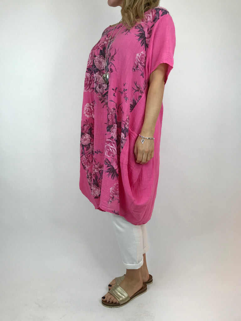 Lagenlook Nancy Flower Shaped Tunic in Fuchsia Pink. code 5726