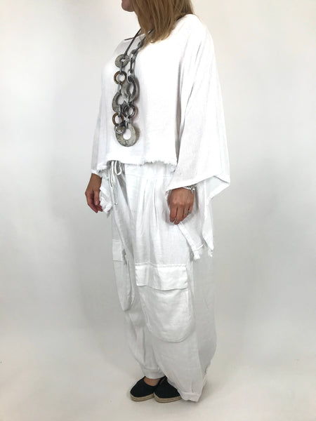 Lagenlook Raw Edge Short Linen layering top in White. code 02246