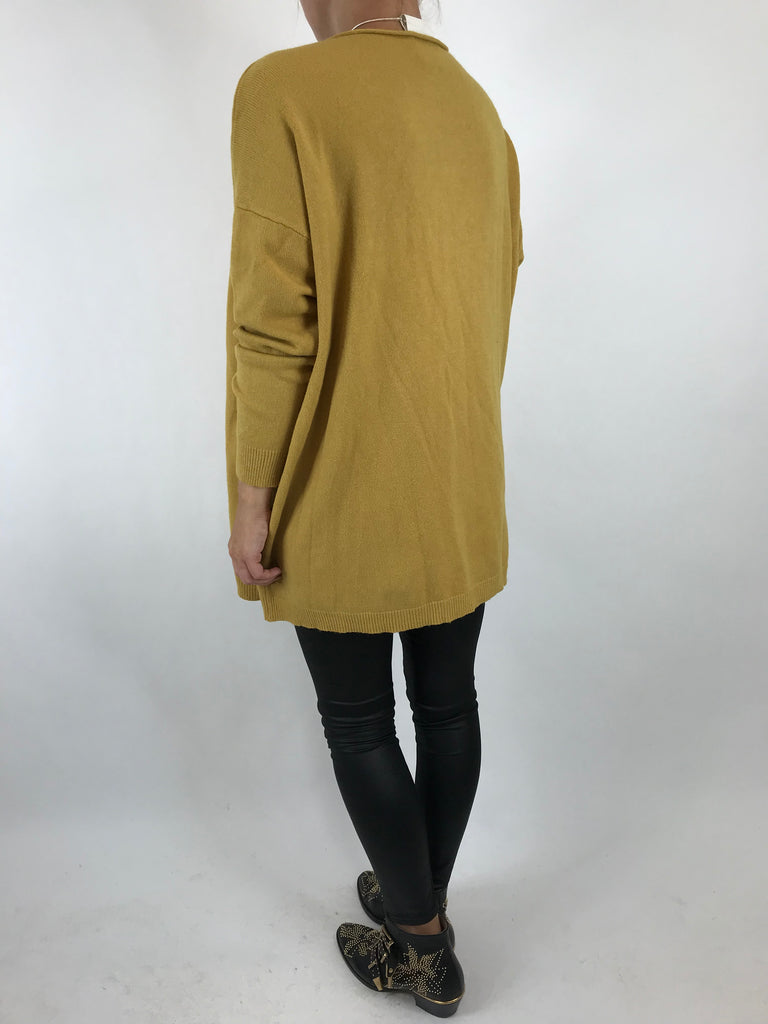Lagenlook Tess Button side jumper in Mustard. code 5461
