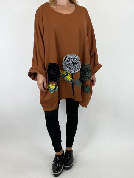 Lagenlook Corolla Flower Hem Sweatshirt in Rust.code 909691 - Lagenlook Clothing UK
