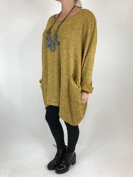 Lagenlook Made In Italy Alps Top in Mustard. code 7476 - Lagenlook Clothing UK